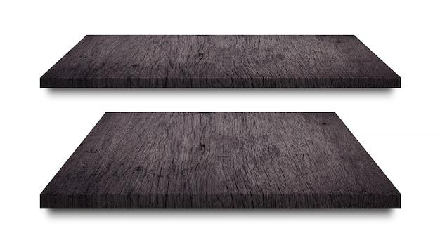 Scaffali in legno nero isolati su bianco Foto Premium