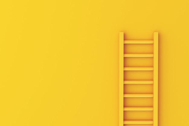 Scala 3d sulla priorità bassa gialla della parete Foto Premium
