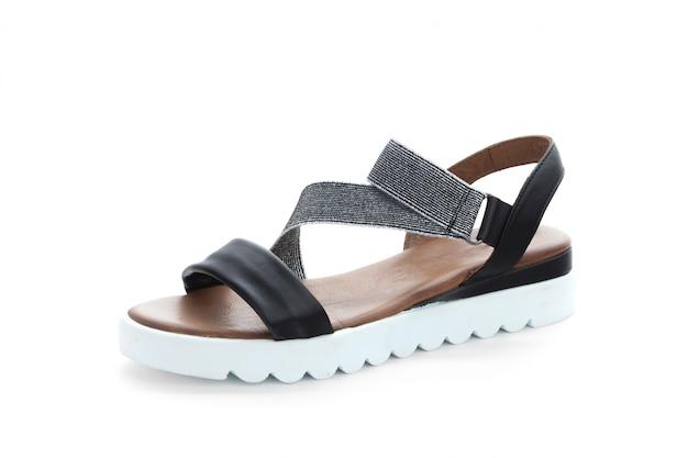 Scarpe delle donne con la suola piana isolata su fondo bianco Foto Premium