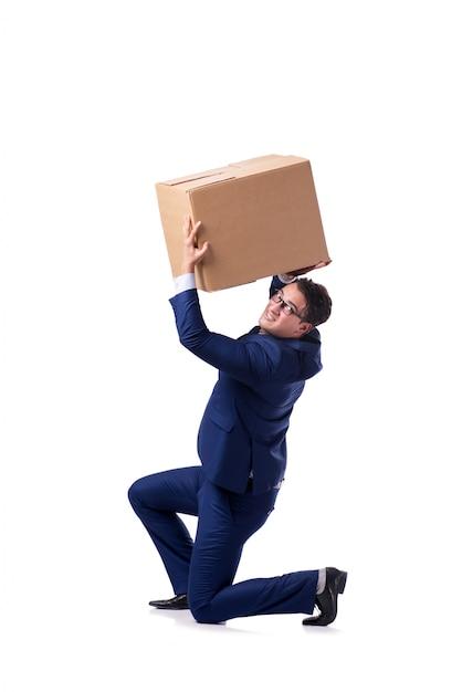 Scatola di sollevamento dell'uomo d'affari isolata su bianco Foto Premium