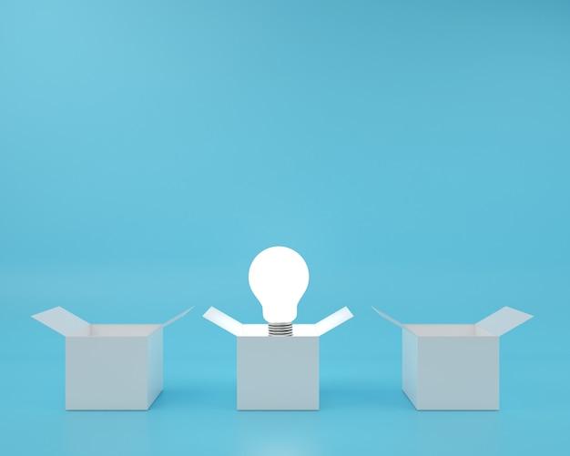 Scatola e differenza idea galleggiante lampadina sfondo. Foto Premium