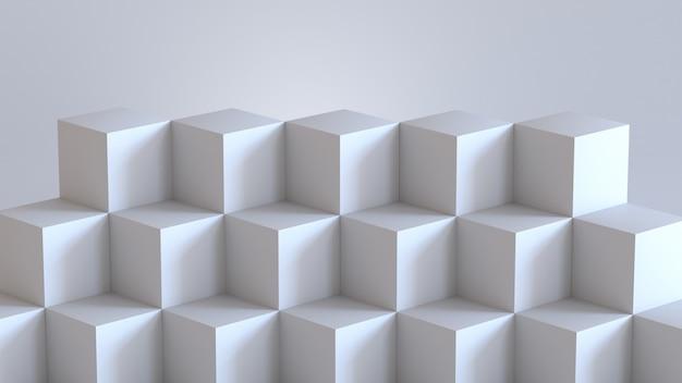 Scatole di cubo bianco con sfondo bianco muro bianco. rendering 3d. Foto Premium