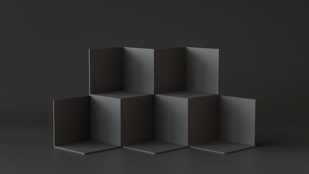 Scatole di cubo nero con sfondo muro scuro. rendering 3d. Foto Premium