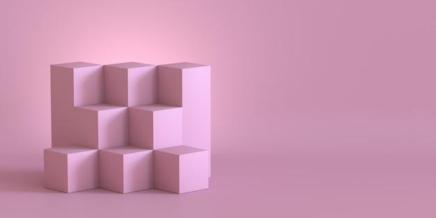 Scatole di cubo rosa con sfondo muro bianco. rendering 3d. Foto Premium