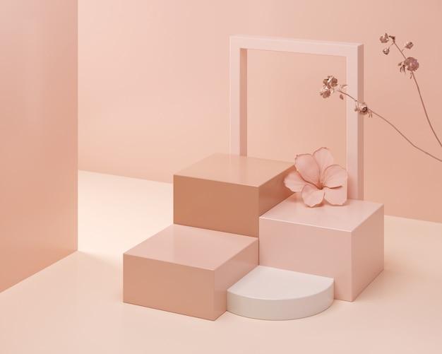 Scena astratta di colore pastello, podio rosa di forma geometrica, rappresentazione 3d. Foto Premium