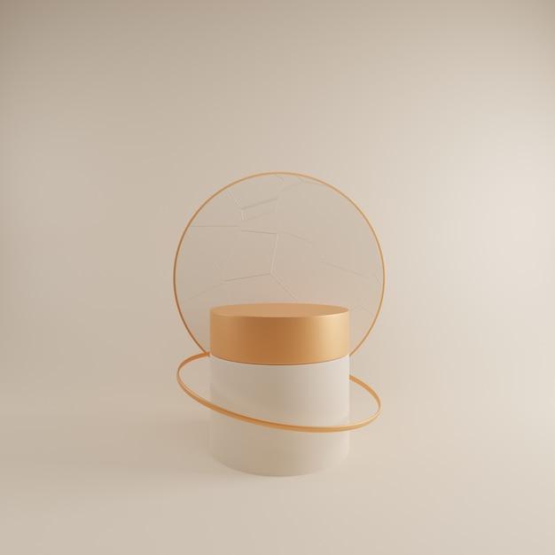 Scena astratta di progettazione 3d con il podio crema. Foto Premium