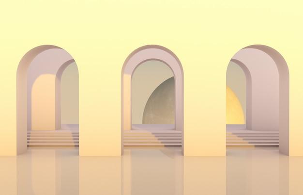Scena con forme geometriche, arco con un podio in luce naturale e luna. sfondo minimo. sfondo surreale. rendering 3d. Foto Premium