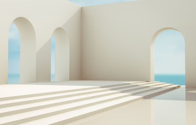 Scena con forme geometriche, arco con un podio nella luce del giorno naturale. sfondo paesaggio minimal. vista sul mare. 3d render sfondo. Foto Premium