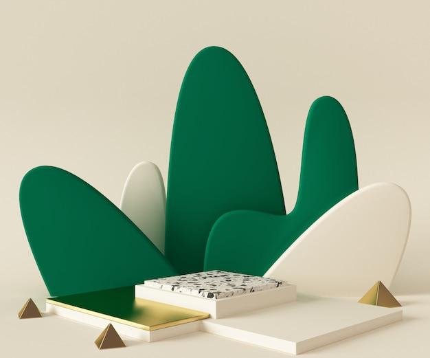 Scena del modello del fondo del podio della rappresentazione 3d. geometria astratta forma di colore pastello. Foto Premium