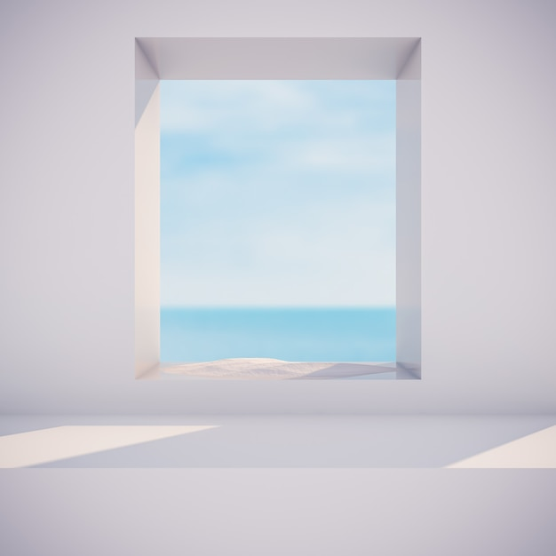 Scena invernale con forme geometriche, cornice circolare. vista sul mare. 3d render sfondo. Foto Premium