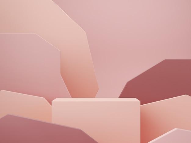 Scena minima con podio e sfondo astratto. forme geometriche. scena di colori pastello. rendering 3d minimo. scena con forme geometriche e sfondo a trama per prodotto cosmetico. rendering 3d. Foto Premium