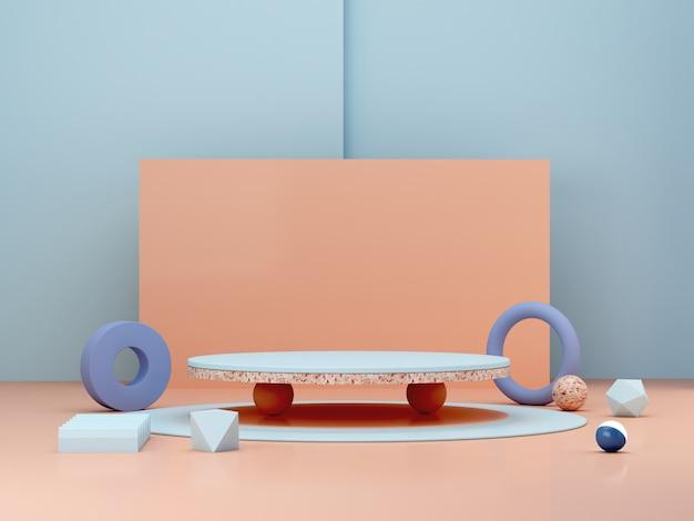 Scena minimal astratta con forme geometriche. podi cilindrici in colori crema e pastello. Foto Premium