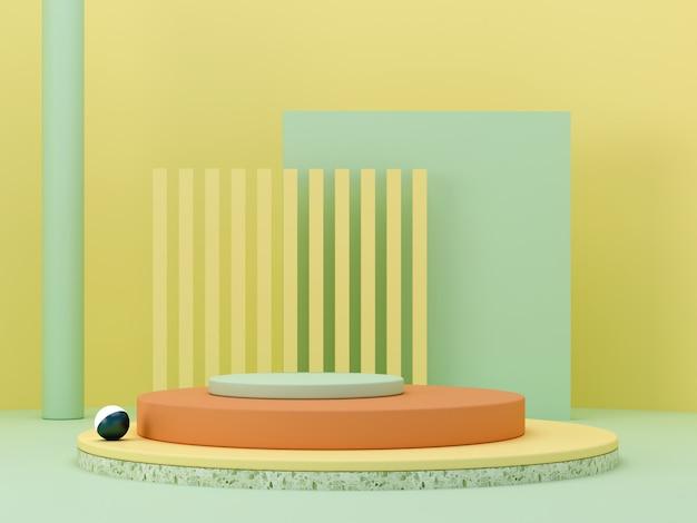Scena minimal astratta con forme geometriche. podi cilindrici nei colori giallo, verde e arancione. sfondo astratto scena per mostrare prodotti cosmetici. vetrina, vetrina, vetrina. rendering 3d. Foto Premium
