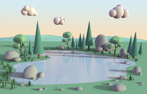 Scena pacifica isometrica del poli lago basso circondata dalle nature degli alberi e clound sul colore dolce di tramonto del cielo per fondo, illustrazione 3d. Foto Premium