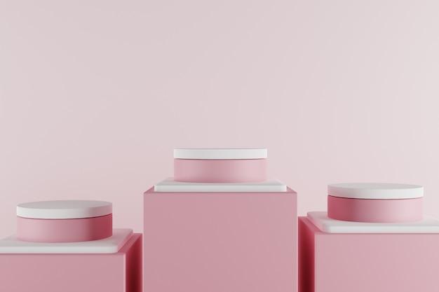 Scena pastello minima 3d con il podio rosa. Foto Premium
