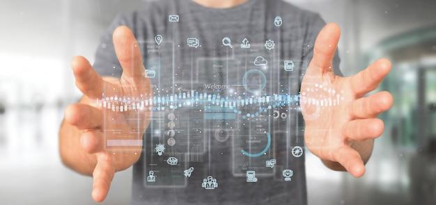 Schermi dell'interfaccia utente della tenuta dell'uomo d'affari con l'icona, le statistiche e la rappresentazione di dati 3d Foto Premium