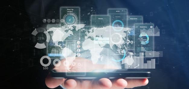 Schermo dell'interfaccia utente della tenuta dell'uomo d'affari con l'icona, le statistiche ed i dati Foto Premium