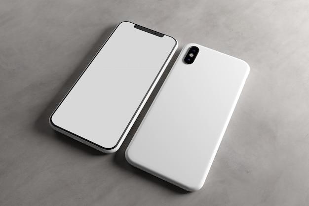 Schermo dello smartphone e modello di caso, rendering 3d Foto Premium