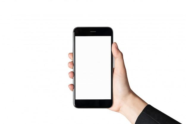 Schermo in bianco dello smartphone della tenuta della mano sopra isolato. Foto Premium