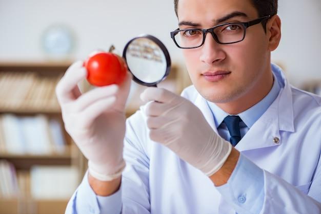 Scienziato che lavora su frutta e verdura biologica Foto Premium