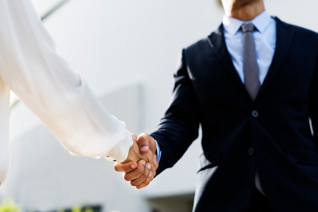 Scossa delle mani di accordo di affari delle donne degli uomini Foto Gratuite