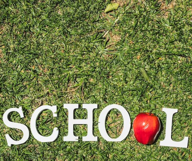 Scuola di parole bianche su erba Foto Gratuite