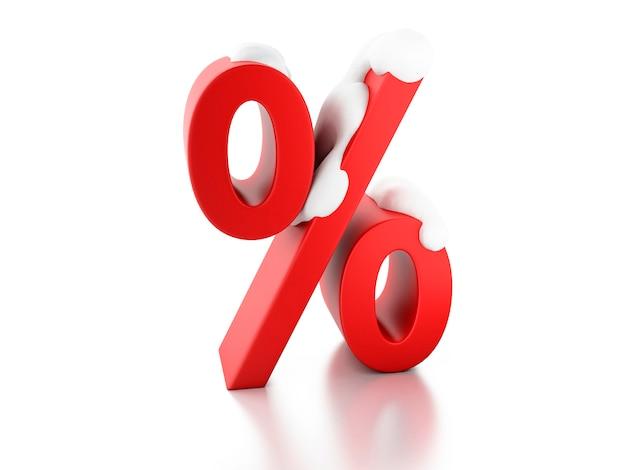 Segno di percentuale nevoso Foto Premium