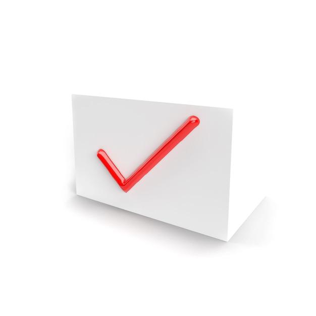 Segno di spunta rosso. segno di spunta sulla casella bianca per interfacce web e software. isolato. icona segno di spunta. rendering tridimensionale, rendering 3d. Foto Premium