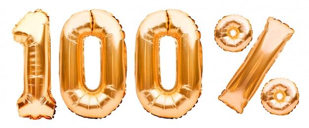 Segno dorato al cento per cento fatto di palloncini gonfiabili isolati su bianco. palloncini ad elio, numeri di lamina d'oro. decorazione di vendita, sconto del 100% Foto Premium