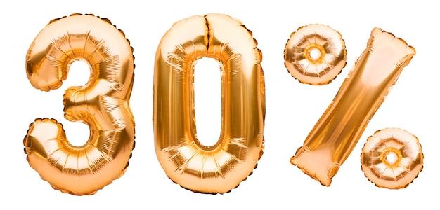 Segno dorato di trenta per cento fatto dei palloni gonfiabili isolati su bianco. palloncini ad elio, numeri di lamina d'oro. decorazione di vendita, sconto del 30% Foto Premium