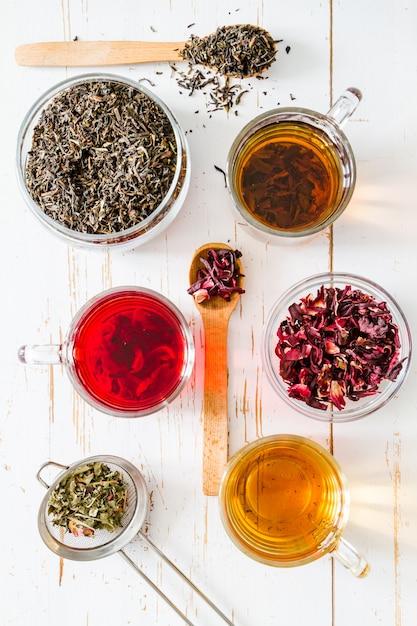 Selezione di diversi tè, vista dall'alto Foto Premium