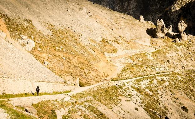 Sentiero lungo la famosa gola del fiume cares, picos de europa, asturie e leon. Foto Premium