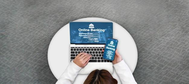 Servizi bancari online per la tecnologia del denaro digitale Foto Premium