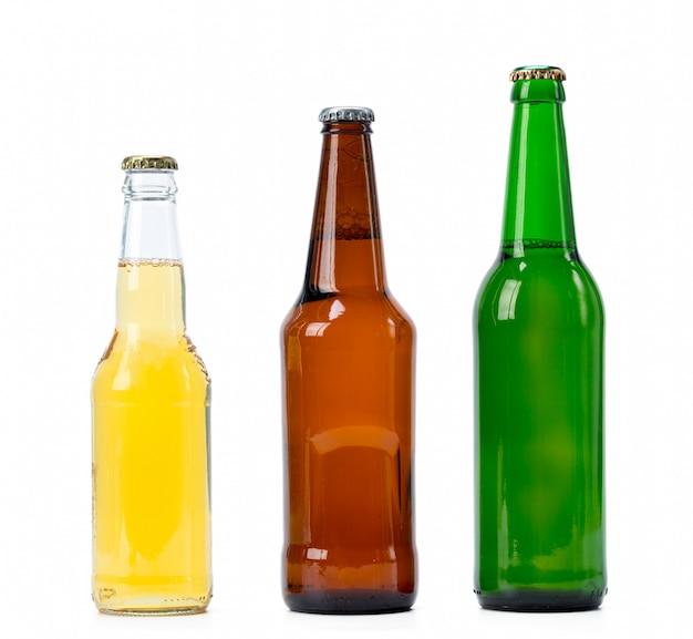 Set di bottiglie di birra isolato Foto Premium