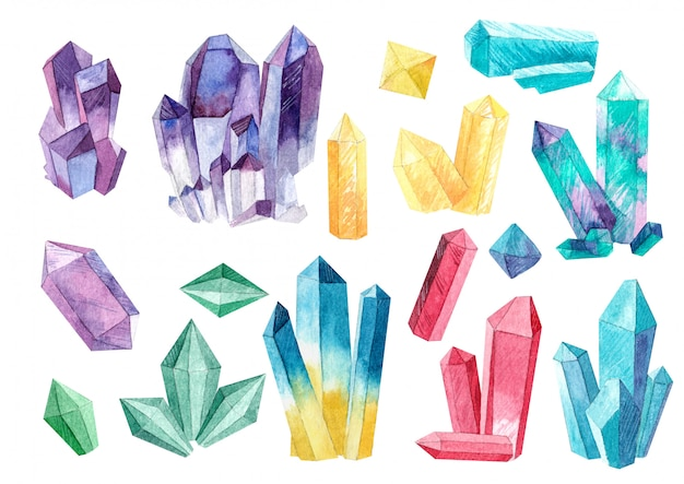 Set di cristalli di acquerelli Foto Premium