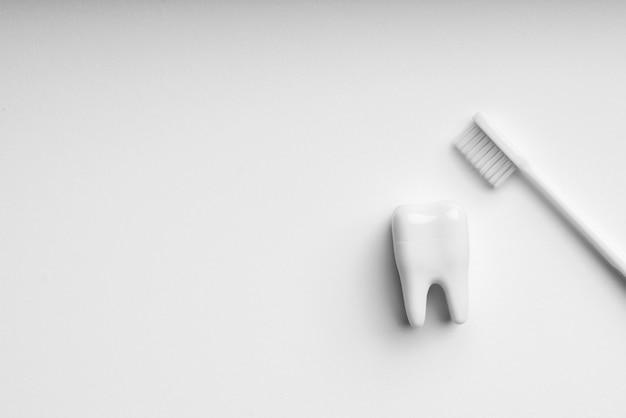 Set di cura dentale e spazzolino da denti di colore bianco e monotono per un concetto pulito Foto Premium