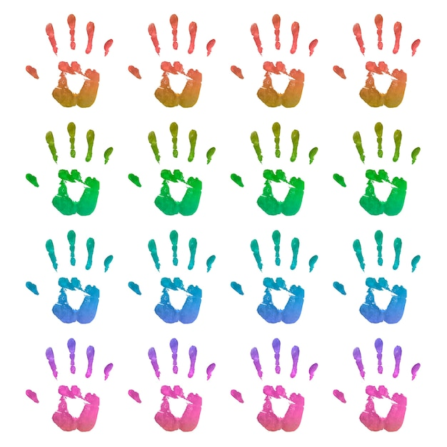 Set di impronte di mani luminose Foto Gratuite