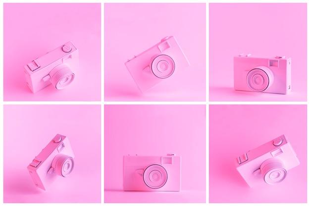 Set di macchina fotografica dipinta su sfondo rosa Foto Gratuite