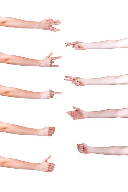 Set di mani in diversi gesti su sfondo bianco Foto Gratuite