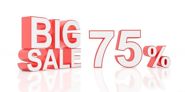 Settantacinque per cento in vendita. grande vendita per banner del sito. rendering 3d. Foto Premium