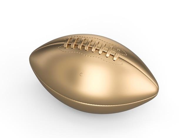 Sfera di football americano dell'oro su bianco Foto Premium