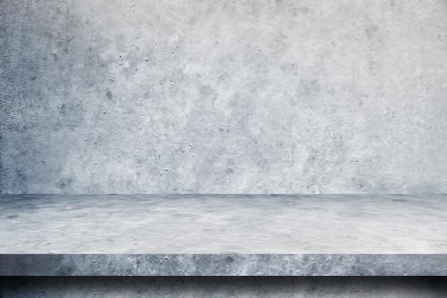 Sfondi pavimento e parete in cemento tavolo, prodotti espositivi per scaffali. Foto Premium