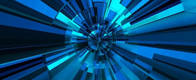 Sfondo astratto digitale blu. illustrazione 3d Foto Premium
