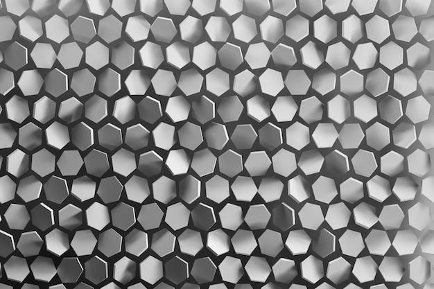 Sfondo con forme esagonali disposte casualmente in colore grigio. Foto Premium