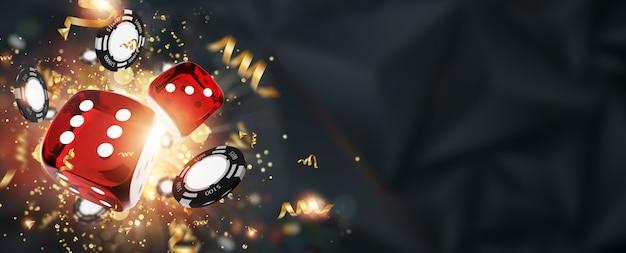 Sfondo creativo, dadi da gioco, carte, fiches del casinò su uno sfondo scuro Foto Premium