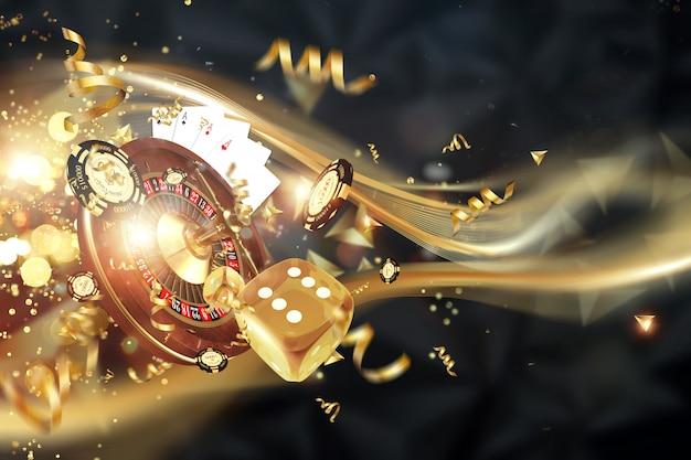 Sfondo creativo, roulette, dadi da gioco, carte, fiches del casinò su uno sfondo scuro Foto Premium