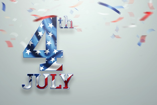 Sfondo creativo, scritta il 4 luglio su uno sfondo chiaro Foto Premium