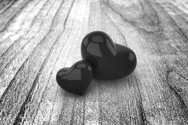 Sfondo di cuori in bianco e nero. rendering 3d. Foto Premium