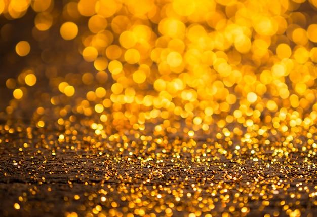 Sfondo Di Luci Vintage Glitter Oro Scuro E Nero Defocused