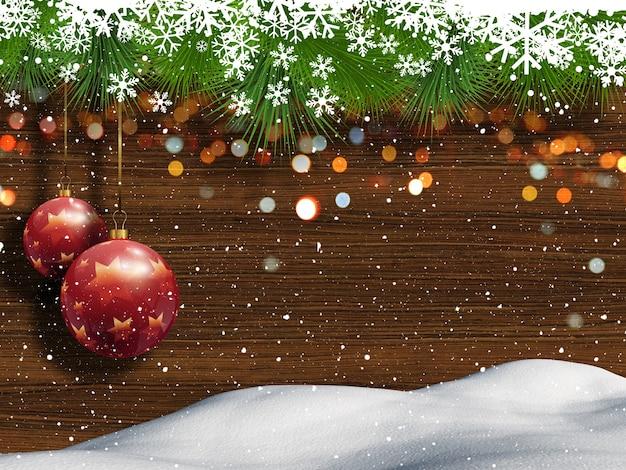 Sfondo Di Natale Con Neve Legno E Palline Appese Scaricare Foto Gratis